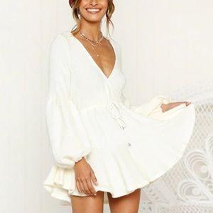 😍😍My Life White Puff Sleeve Fall Dress